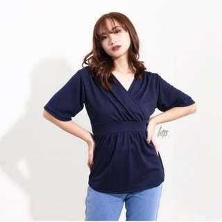 Navy Blue Overlap Shirred Top