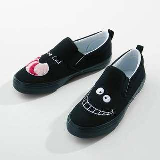 日本代購 【DISNEY】 刺繡布鞋 黑色