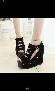 (NO INSTOCKS!!) Preorder Korean Cut out high wedges platform shoes* waiting time 15 days after payment is made *chat to buy to order