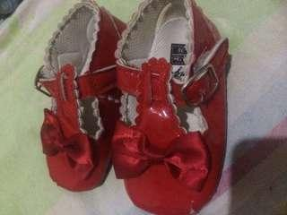 Red shoes for baby girl