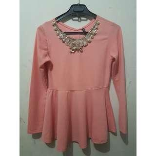 Peplum Blouse Top Atasan Preloved peach open barter Ignite