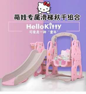 3 in 1 Hello Kitty Playground Play Yard Playpen with Swing & Extended Slide