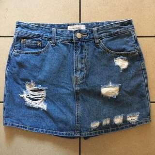 Korean Ripped Denim Skort