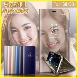 透視感應顯影鏡面手機保護殼 站立式皮套 S6 S7 edge A8 S8 S9 plus J7+ J5 J7 Prime
