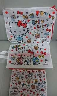$60 for 3,全新 Hello Kitty 限量版旅行收納袋3件套裝,贈品,袋1 380x 280x 100mm,袋2 340x 210x 100mm,袋3 240x 165mm
