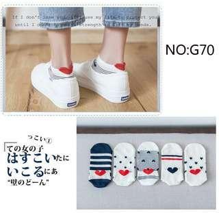 Heart Shape Cute White Socks