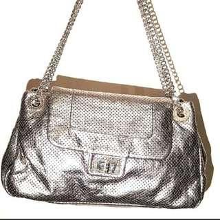 CHANEL silver leather bag