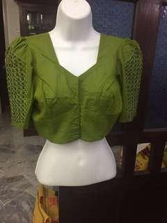 (BN) Deepavali Clearance Sale Only from 9th Oct - 6th November -Ready Made Leafy Green Embroidery Beads Decorated Blouse