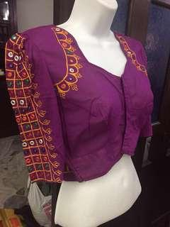 (BN) Deepavali Clearance Sale Only from 9th Oct - 6th November -Ready Made Kumkum Colour Embroidery Mirror worked Blouse