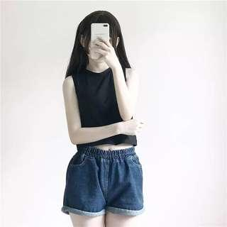 Sleeveless Singlet Crop Top + Elastic Denim Shorts