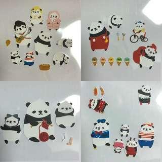韓國 全新 熊貓 貼紙 Sticker Panda 筆記本 一套4張 日記 裝飾貼紙 包平郵