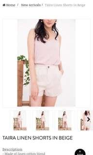 🚚 (Wild Peonies) Taira Linen Shorts in Beige