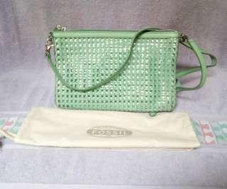 Sydney Woven Mint Clutch Green Leather/Twill/PVC Cross Body Bag