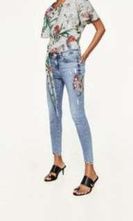 Zara embroidery jeans