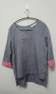 🚚 灰色袖口反折配色上衣