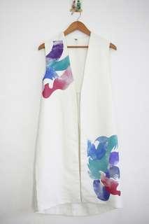 White Abstract Blazer