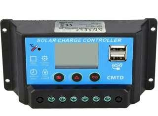 -1243-Anself 10A 20A 12V/25V Solar Charge Controller with LCD Display Auto Regulator Timer Solar Panel Battery Lamp LED Lighting Overload Protection