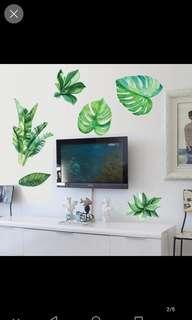 Instock Nordic ins Fresh and warm bedroom living room green leaf wall stickers removable study bedroom decoration wall stickers