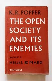 [Vintage Book] The Open Society and Its Enemies, Volume 2, Hegel & Marx; by Karl R Popper (1986 edition, Routledge Press) 中古書藉