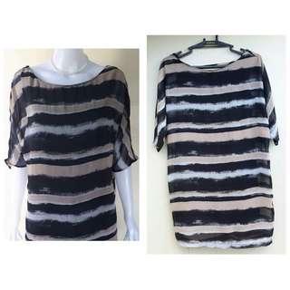 brown/black long blouse