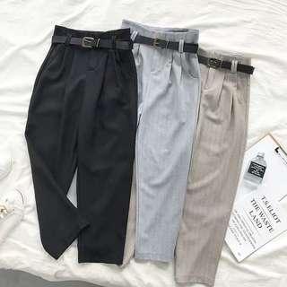 High Waisted Korean Working Trousers w Belt