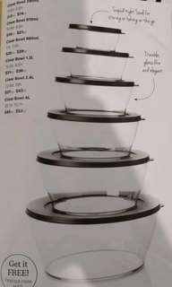 Tupperware Clear Bowl Set