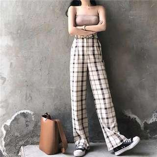 Checkered Plaid Grid Trousers Pants
