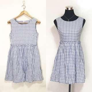 CHERRY KOKO Light Blue Plaid Gingham Sleeveless Dress