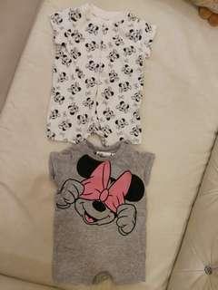 #H&M50 Preloved 1-2 Months Baby Girl Disney Romper Set Of 2
