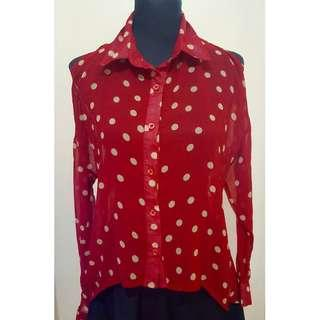 Red Polka-Dot Blouse