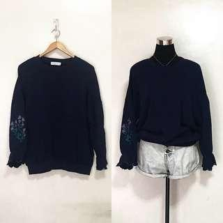 Oversized Navy Blue Embroidered Sleeves Pullover