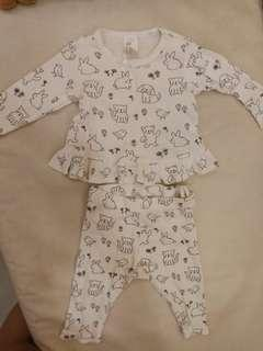 #H&M50 Preloved 2-4 Months Super Adorable Baby Girl Pajamas Set