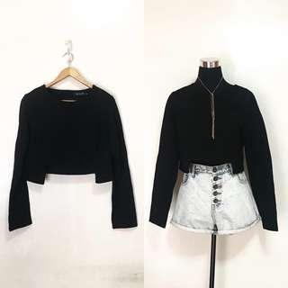 Thick Quality Black Cropped Long Sleeves Top