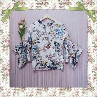 Blouse Top Atasan Wanita  Satin Lengan Lonceng Terompet Flowery Floral Summer Forest Tropical Leaf Daun Palm Bird Flamingo