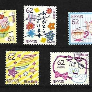 2017年 日本信銷郵票 C2322 書信日 62円 5全