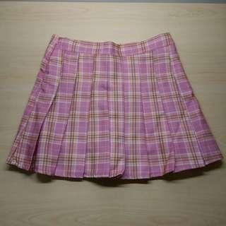 粉色 百褶裙 格子裙