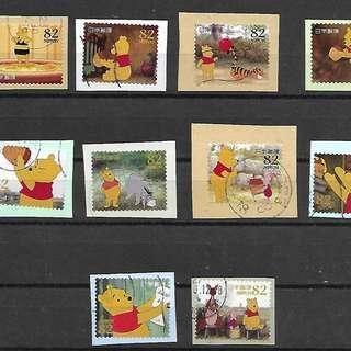 2014年日本信銷剪片郵票 G85迪士尼 維尼熊 10全