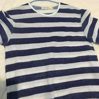 🚚 50% 藍白條紋上衣 針織特別製法