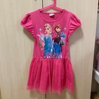 🚚 二手女童冰雪奇緣連身裙 約5-6歲適穿 桃紅色