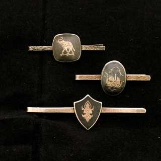 Lot of 3 Vintage Siam Thai Silver Nielloware Tie Clips Tie Pin