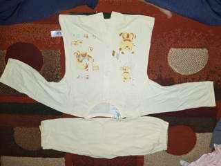 Setelan set baby celana baju cream blue boy/girl unisex