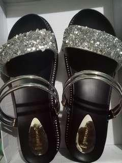 Shining shimmering sandals