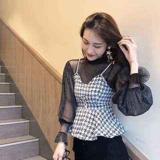 🚚 Ruffle Sheer blouse (white)
