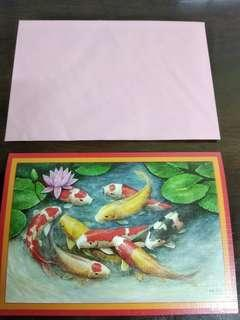 Chinese new year greeting card by foot painter