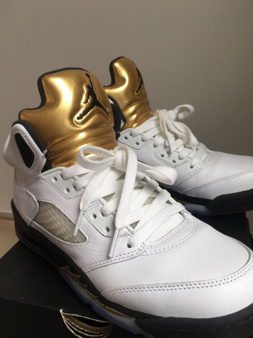 half off 3e7bc 25158 Air Jordan 5 Retro OG BG Olympic Gold, Men s Fashion, Footwear ...