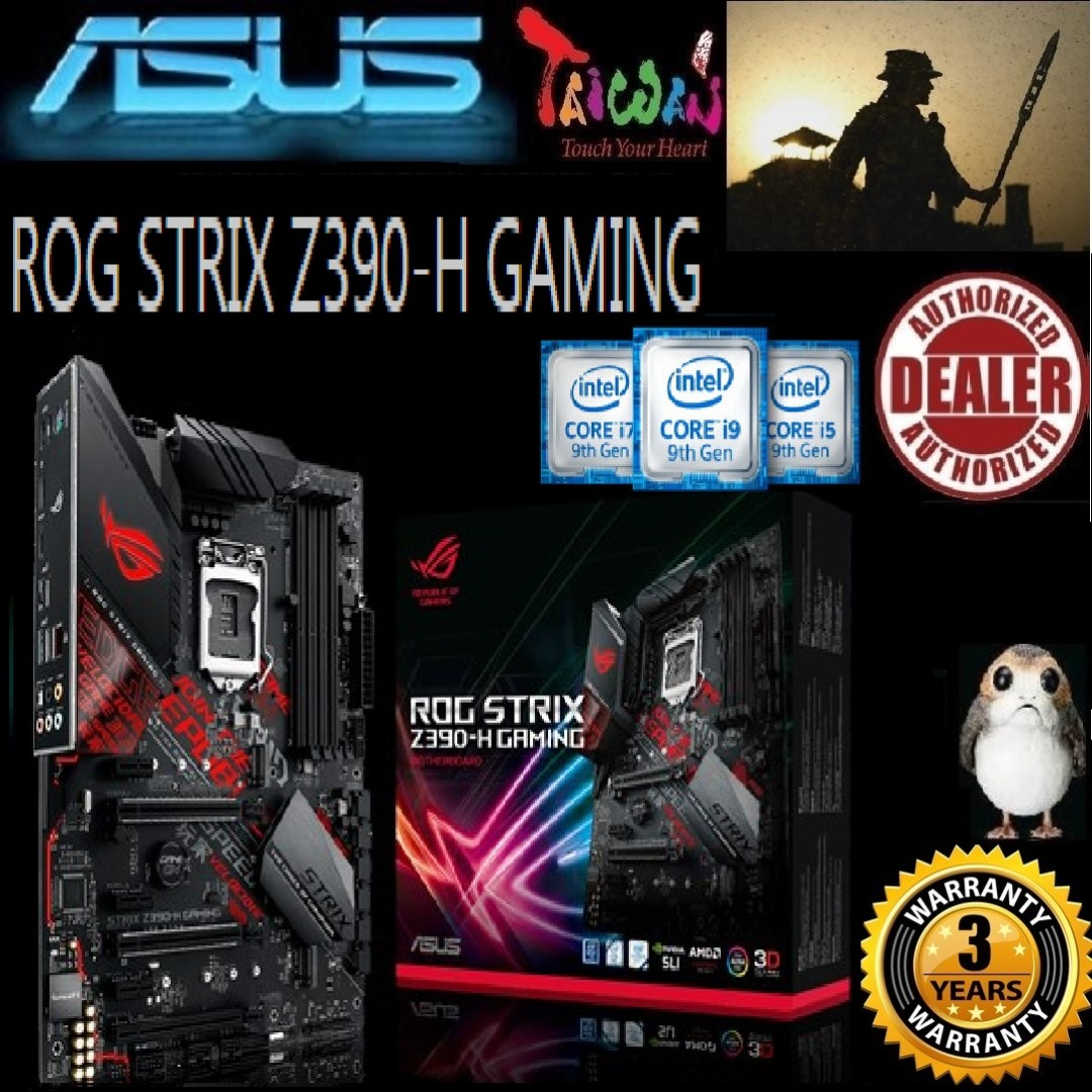 ASUS STRIX Z390-H GAMING Z390 MOTHERBOARD (3Y), + Bundle Together with  Intel 1151 9th / 8th Gen Intel® CPU, Type of CPU price shown below