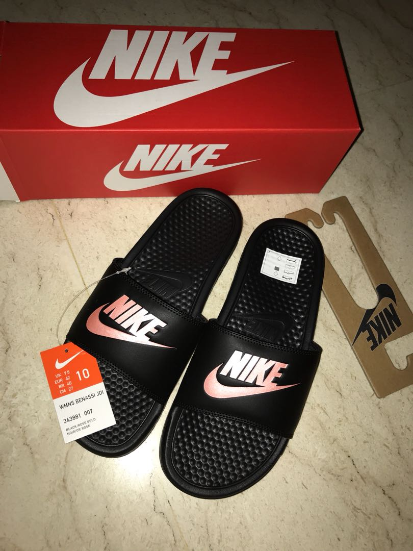 aa80114ff66 BNIB Nike Benassi Slides Black   Rose Gold