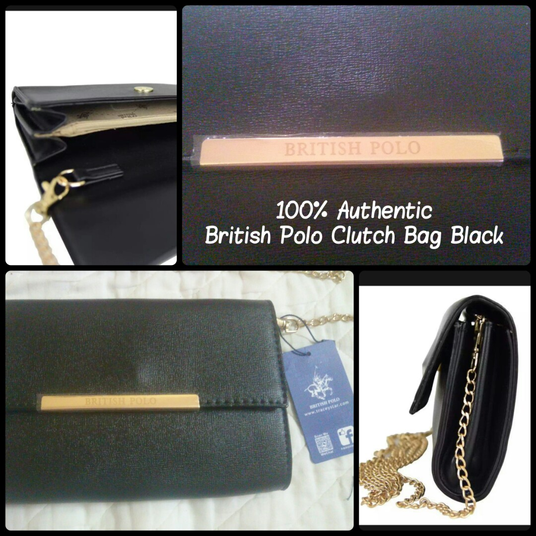 b4e22d20c0c4 💯 British Polo Clutch Bag Black (dowprice)