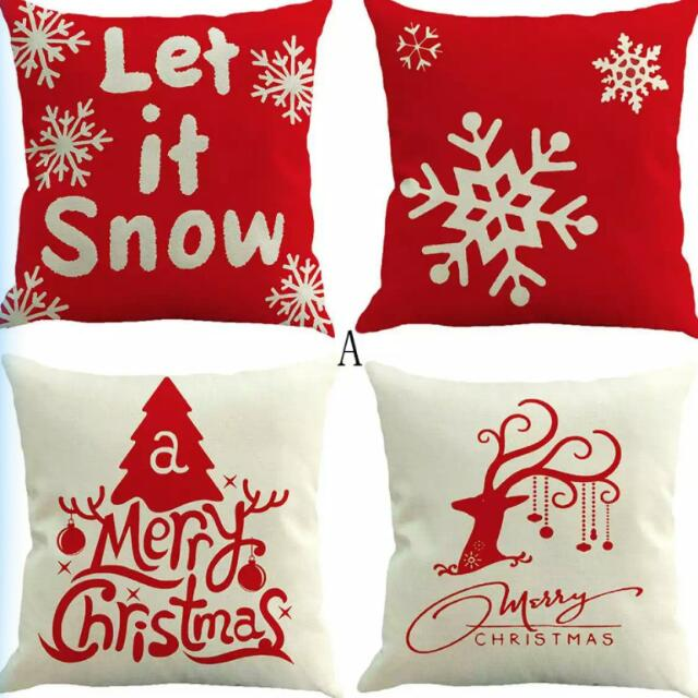 Christmas Deco Preorder Set Of 4 Xmas Cushion Cover Only Furniture
