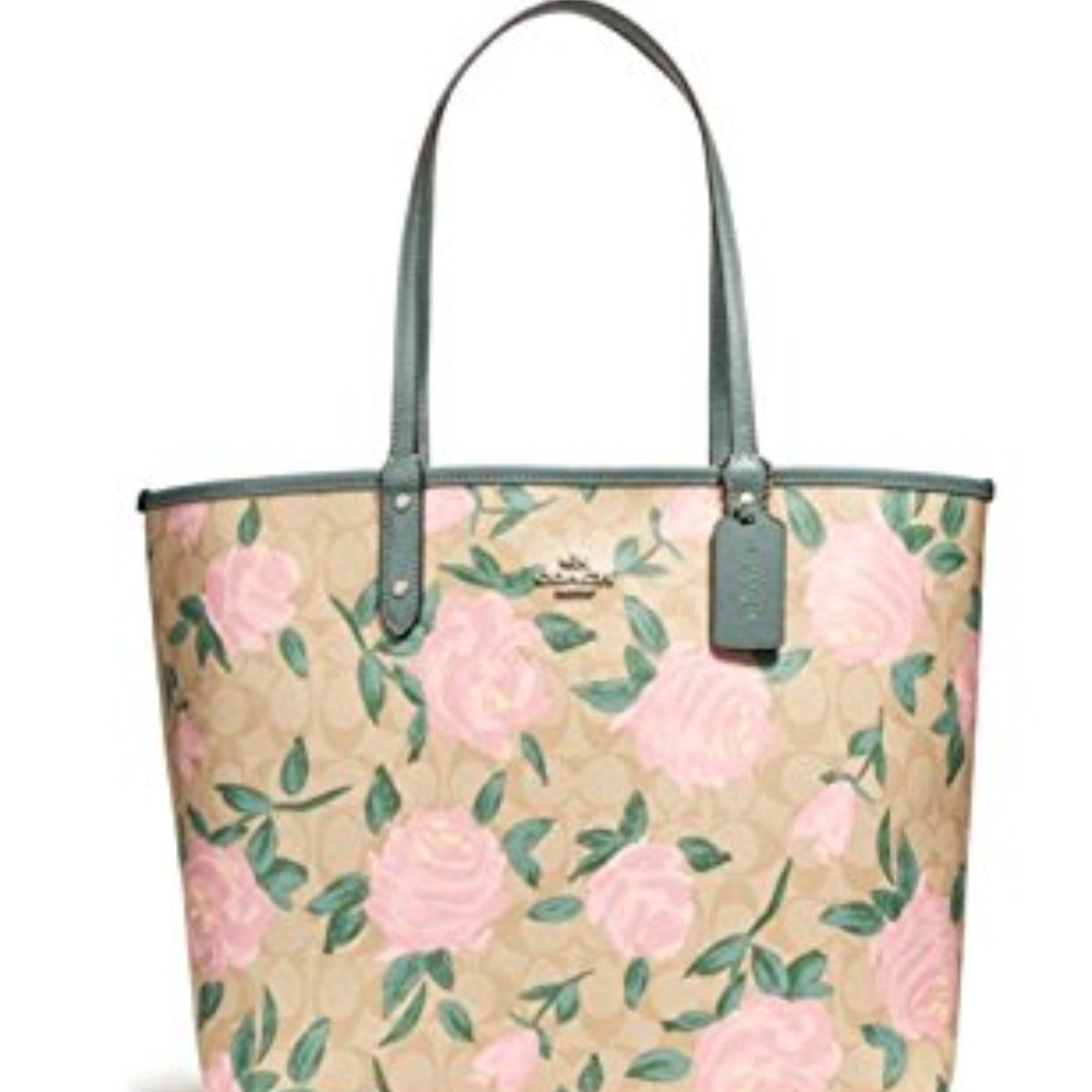 be52d3b408 Coach Tote Bag Rose Floral Print, Women's Fashion, Bags & Wallets ...